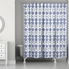 Update your bathroom with the Designs Direct Southwest Ikat Shower Curtain to instantly bring quaint charm to your space. The beautiful shower curtain features an allover ikat pattern in soothing shades of blue and white. Shower Curtain Sets, Bathroom Shower Curtains, Walk In Shower Designs, Striped Shower Curtains, Shower Rod, Ikat Pattern, Bathroom Design Small, Blue Walls, Bedding Shop
