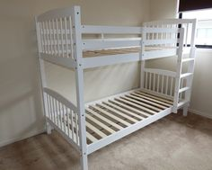 BUNK BED - Kids WHITE Single Twin Over Solid Pine Childrens Bed NEW bunk beds $259