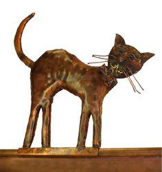 """Dachrinnen-Figur aus Kupfer """"Katze"""""""