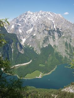The 'Königssee' is a lake located in the southeast of the German state Bavaria. This view shows the lake together with the famous mountain 'Watzmann'.