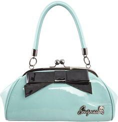 FLOOZY Purse Sourpuss baby blue black bow pin up girl rockabilly retro glamour Sourpuss Clothing, Blue Purse, Cute Purses, Up Girl, Aqua Blue, Evening Bags, Purses And Handbags, Small Handbags, Fashion Bags