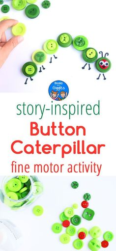 4 Easy Steps For Developing A Sunroom Simple Kids Button Craft Inspired By The Very Hungry Caterpillar Via Booksandgiggles Craft Activities For Kids, Toddler Activities, Preschool Activities, Preschool Literacy, Teaching Kindergarten, Motor Activities, Educational Activities, Teaching Ideas, Craft Ideas