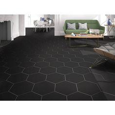 Opal Black Hexagon Porcelain Tile – 11 x 13 – 100505361 – Artsupplies Black Hexagon Tile, Black Tiles, Hexagon Tiles, Black Kitchen Floor Tiles, Hex Tile, Hexagon Pattern, Kitchen Tile, Tiling, Diy Kitchen