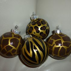 christmas ornaments in animal prints leopard zebra and giraffe christmas 2017 modern christmas - African Christmas Decorations
