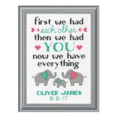 Elephant Family Birth Record Counted Cross Stitch Kit - Cross Stitch, Needlepoint, Embroidery Kits – Tools and Supplies