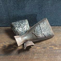 Pair Ornate Cast Iron Stove Legs, Antique Salvage, Rusty Cast Iron, Farmhouse Decor