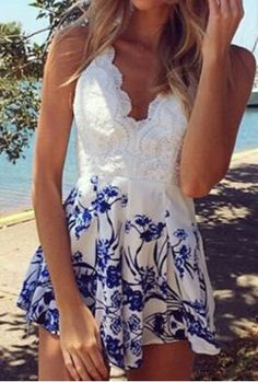 Stylish Plunging Neck Sleeveless Floral Print Backless Women's RomperJumpsuits & Rompers | RoseGal.com