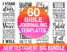 ♥ NT BIG BUNDLE - 60 NEW TESTAMENT Bible journaling printable templates, illustrated faith journaling, bible verse study bookmarks stickers, prayer journal, black and white instant download.  ♥ PLEASE SEE these links for images of INDIVIDUAL PAGES: Set 1 - 1 John - http://etsy.me/29TWAeW Set 2 - Philippians - http://etsy.me/29OEx6K Set 3 - Colossians - http://etsy.me/2a2PCWZ Set 4 - Galatians - http://etsy.me/29TX04N Set 5 - Ephesian...