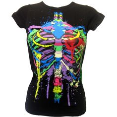 Living Dead Souls Neon Ribcage T-Shirt   Gothic Clothing   Emo clothing   Alternative clothing   Punk clothing - Chaotic Clothing ($26) found on Polyvore