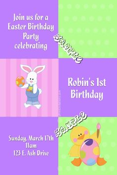 Easter Party Invitations - Any Color Scheme - Choose Your Clipart - Digital Download - Get these invitations RIGHT NOW. Design yourself online, download and print IMMEDIATELY! Or choose my printing services. No software download is required. Free to try! Easter Invitations, Diy Invitations, Birthday Party Invitations, Easter Birthday Party, 2nd Birthday, All Holidays, Printing Services, All The Colors, Color Schemes