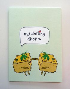 Items similar to Funny Indian Food-inspired Greetings Card - Dhokhru on Etsy Cute Jokes, Cute Puns, Funny Puns, Funny Quotes, Funny Food, Food Puns, Food Humor, Indian Puns, Gujarati Jokes