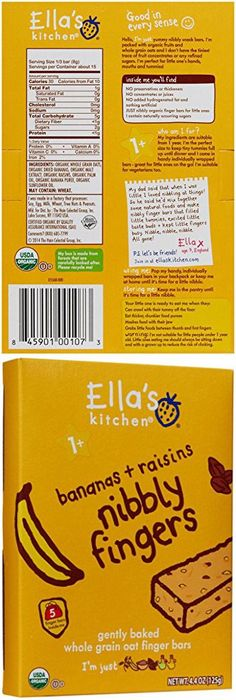 Ella's Kitchen Bananas + Raisins Nibbly Fingers Whole Grain Oat Finger Bars, Stage 3, 4.4 oz