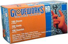 AMMEX - GWON44100-BX - Nitrile Gloves - Gloveworks - Disposable, Powder Free, 8 mil, AIZbfu Orange, Medium (Box of 200)