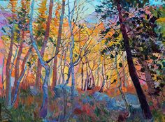 Erin Hanson oil painting forest trees colorful