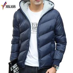 Yayu Mens Quilted Front-Zip Thick Relaxed Fit Fashion Hooded Down Jacket Coat