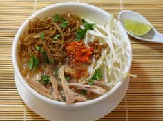 Cambodian Chicken Rice Porridge with Fried Noodles