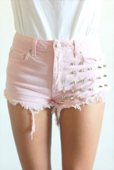 studded pale pink denim