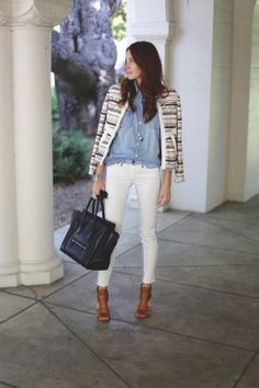 chambray shirt + skinny white jeans + textured jacket via @Samantha Hutchinson / Could I Have That