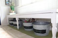 bi-fold door bench, farmhouse kitchen facelift // Dannette Gora | row+harlow interior design