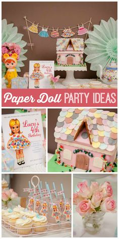 A Vintage Paper Doll girl birthday party with a dollhouse cake and fun party decorations!  See more party planning ideas at CatchMyParty.com!