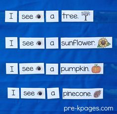 Fall Printable Pocket Chart Sentences