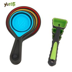 YOTOP Home Use 8Pcs/set Environmental Friendly Folding Silicone Measuring Set Tools Home Kitchen Measuring Cups Spoon For Baking coffee ** More info could be found at the image url.