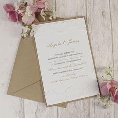 Vintage White Lace Rustic Chic Wedding Invitation Personalized Sample | eBay