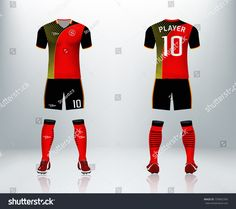 3D realistic of front and back of red soccer jersey t-shirt with pants and socks on shop backdrop. Concept for soccer team uniform or football apparel mockup template in vector