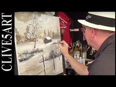 Winter Cabin | Bob Ross style | You Can Paint Along | Acrylic painting - YouTube