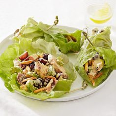 These decadent-tasting wraps are lightened up with fat-free Greek yogurt in place of mayo--and lettuce makes a crisp, fresh alternative to a flour wrap.