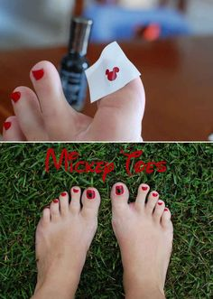 Or use a Mickey-shaped hole punch to create Mickey toes.
