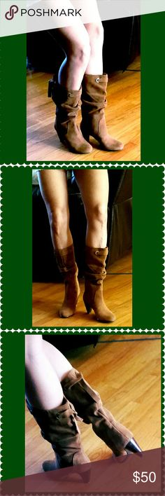 Brown suede herled boot Super cute suede heel boots in excellent condition. Heel measures at Shoes Heeled Boots