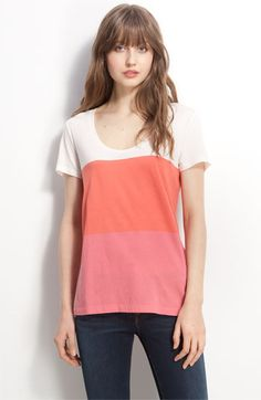 "Caslon Short Sleeve Colorblock Jersey Tee  Bold blocks of tonal color pattern a soft scoop-neck tee with a slightly longer, curved back hem finishing the relaxed style.  Center back seam.  Approx. length from shoulder: regular front 26 1/2"", back 28""; petite front 25"", back 26 1/2"".  Cotton/modal; machine wash.  By Caslon®; imported.  Point of View.  $32.00"