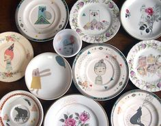 i rescue plates and collage them with my artwork. i started rescuing plates a few years ago but only recently decided to list the. Ceramic Tableware, Ceramic Clay, Porcelain Ceramics, Ceramic Pottery, Pottery Painting, Ceramic Painting, Plate Art, Plate Design, Plates And Bowls