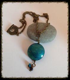 Sautoir en pâte polymère Fimo, perles au chalumeau ,métal couleur bronze, Turquoise. : Collier par grenadine-co