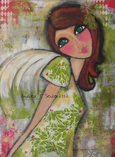 A Christmas Angel LARGE 18x24 ORIGINAL painting by Southendgirlart