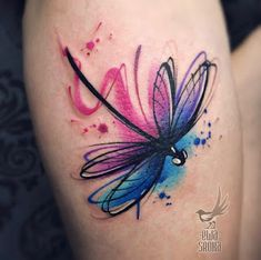 There are lots of tattoos ideas here. And out of this many people like to have watercolor tattoos. Our earlier Tattoos ideas of watercolor, . Watercolor Dragonfly Tattoo, Dragonfly Tattoo Design, Tattoo Designs, Watercolor Tattoos, Dragonfly Tatoos, Cute Small Tattoos, Pretty Tattoos, Purple Tattoos, Dainty Tattoos