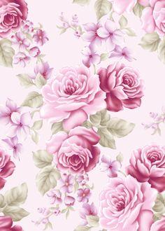 pretty pink floral print vintage wallpaper