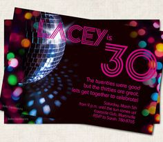 30th Birthday Party Invitation pink  disco by missbellaexpressions