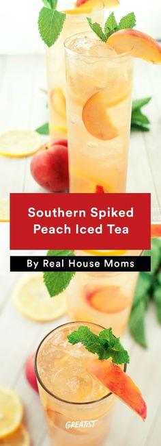 1. Southern Spiked Peach Iced Tea #healthier #fourthofjuly #recipes
