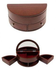 Ékszertartó doboz, ékszerdoboz félkör alakú 2 oldalfiókkal