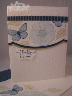 Handmade Cards with a Clean and Simple Design are beautiful and fuss free.  Summer Solstice stamps in Not Quite Navy, River Rock & Baja Breeze create a calming effect. www.stampingcountry.com Where Creativity Blooms