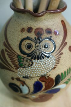 Vintage Mexican Sandstone Pottery Owl Pitcher by thriftykitten, $24.00