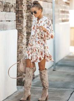 Mode Outfits, Fall Outfits, Fashion Outfits, Womens Fashion, Dress With Boots, The Dress, Botas Boho, Look Fashion, Autumn Fashion