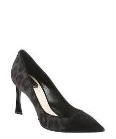 Christian Diorblack suede and charcoal leopard print calf hair 'Songe' pumps