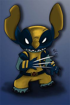 35 Funny Marvel Disney Mashups Artwork | The Design Inspiration STITCH AS WOLVERINE! a dream come true. seriously.