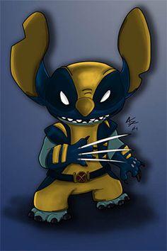 35 Funny Marvel Disney Mashups Artwork | The Design Inspiration STITCH AS WOLVERINE! a dream come true. seriously.