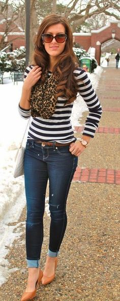 Lovely Fall Outfits | Lepord Scarf with Stripes and Skinnies Jeans