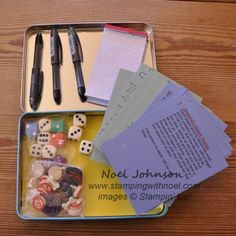 Handmade Gift Ideas: Dice Games in a Box - Stamping with Noel Games Box, Dice Games, Fun Games, Games For Kids, Activities For Kids, Crafts For Kids, Creative Gifts, Cool Gifts, Diy Gifts