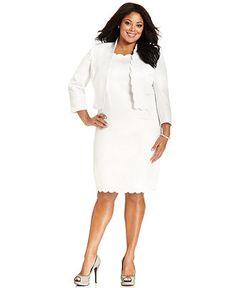 7649c8e47b1 Kasper Kasper Plus Size Scalloped Jacket   Sheath Dress Women - Wear to Work  - Macy s